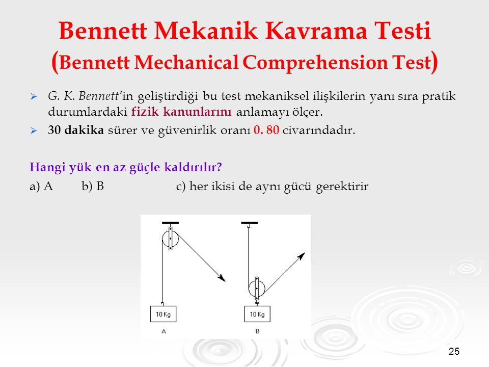 Bennett Mekanik Kavrama Testi (Bennett Mechanical Comprehension Test)