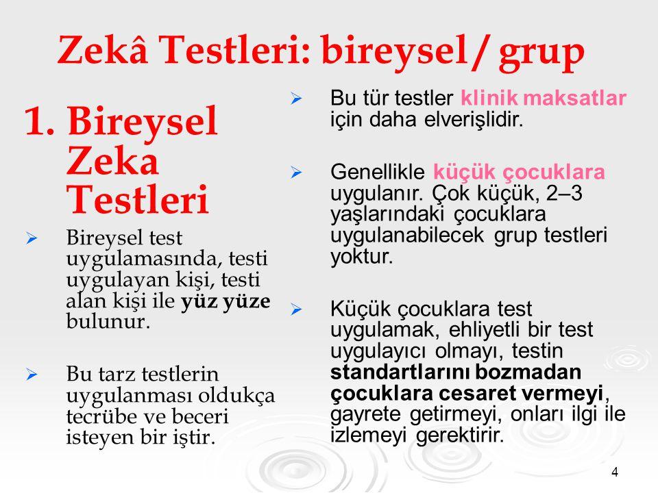 Zekâ Testleri: bireysel / grup
