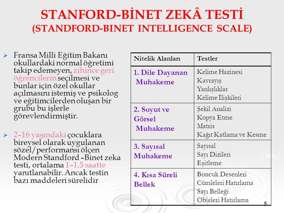 STANFORD-BİNET ZEKÂ TESTİ (STANDFORD-BINET INTELLIGENCE SCALE)