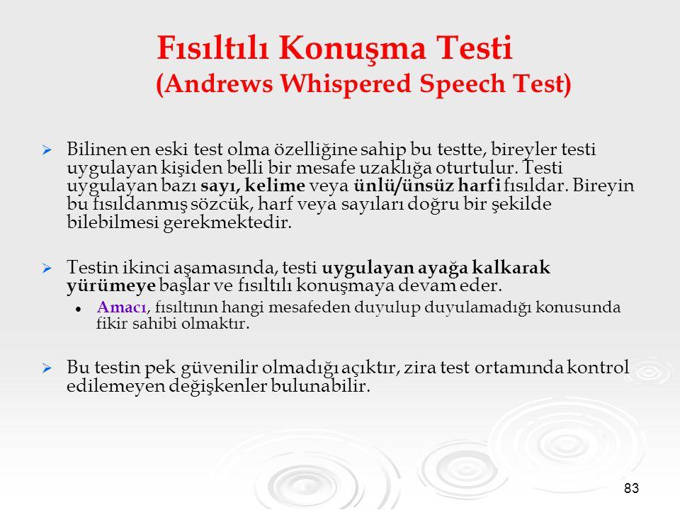 Fısıltılı Konuşma Testi (Andrews Whispered Speech Test)