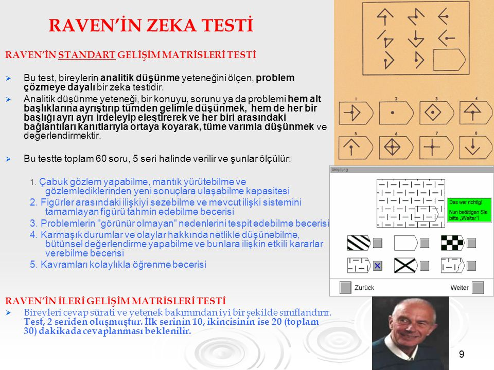 RAVEN'İN ZEKA TESTİ RAVEN'İN STANDART GELİŞİM MATRİSLERİ TESTİ
