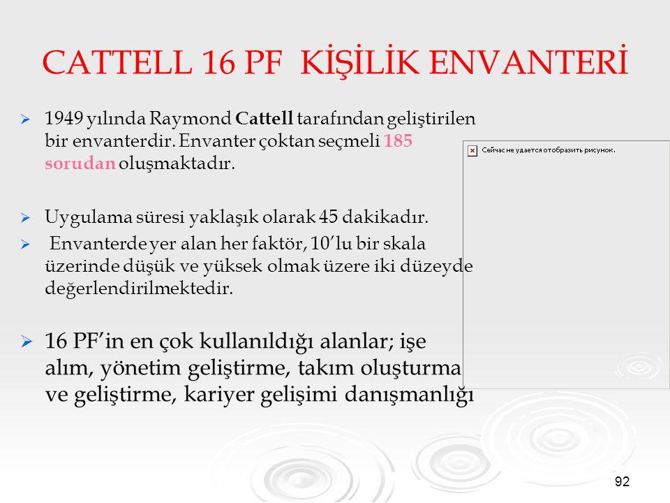 CATTELL 16 PF KİŞİLİK ENVANTERİ