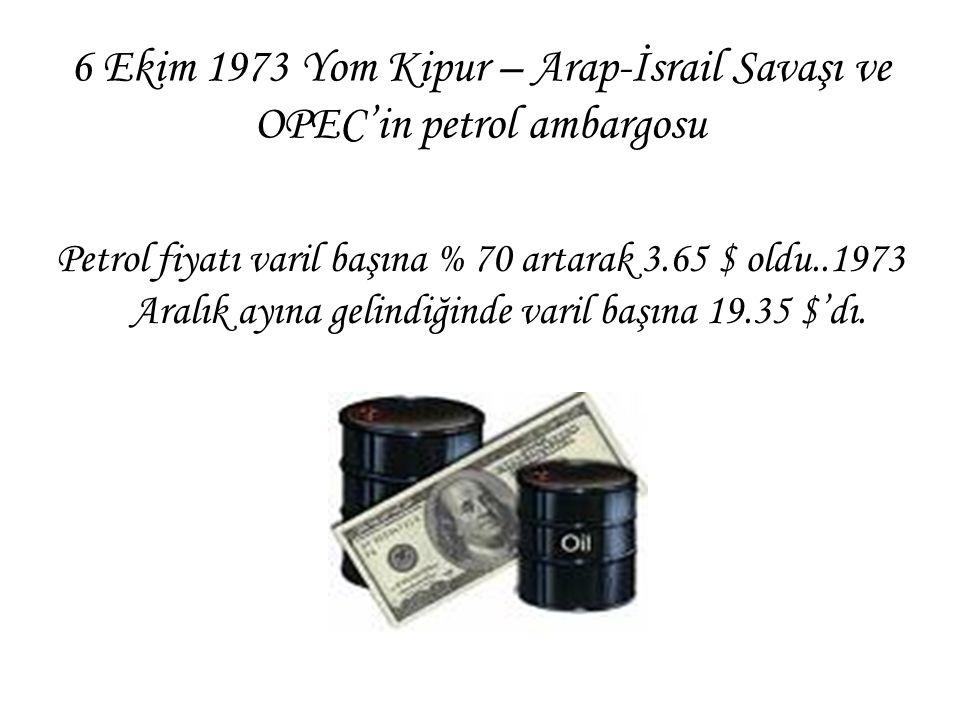 6 Ekim 1973 Yom Kipur – Arap-İsrail Savaşı ve OPEC'in petrol ambargosu