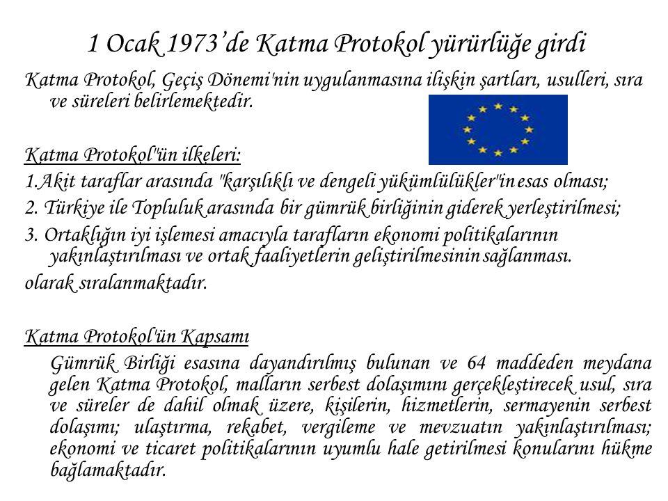 1 Ocak 1973'de Katma Protokol yürürlüğe girdi