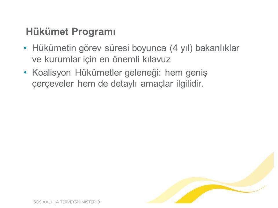 Hükümet Programı Hükümetin görev süresi boyunca (4 yıl) bakanlıklar ve kurumlar için en önemli kılavuz.