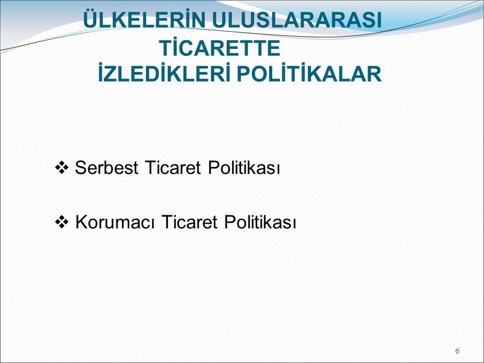 ÜLKELERİN ULUSLARARASI TİCARETTE İZLEDİKLERİ POLİTİKALAR