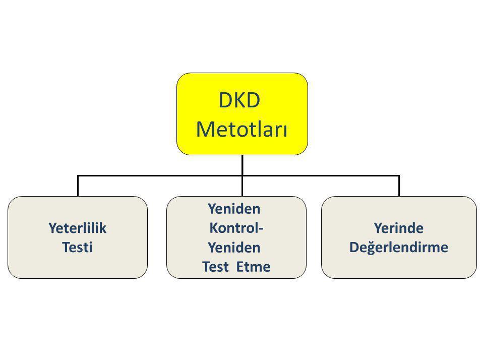 DKD Metotları Yeterlilik Testi Yeniden Kontrol- Yeniden Test Etme