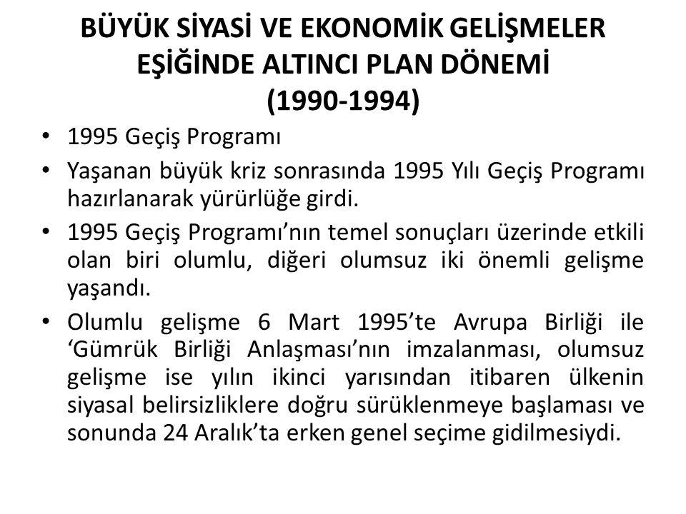 BÜYÜK SİYASİ VE EKONOMİK GELİŞMELER EŞİĞİNDE ALTINCI PLAN DÖNEMİ (1990-1994)