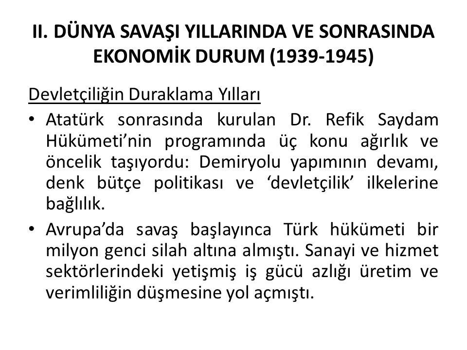 II. DÜNYA SAVAŞI YILLARINDA VE SONRASINDA EKONOMİK DURUM (1939-1945)