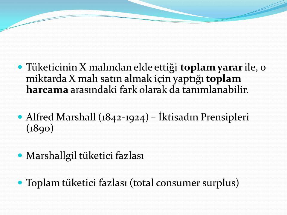 Tüketicinin X malından elde ettiği toplam yarar ile, o miktarda X malı satın almak için yaptığı toplam harcama arasındaki fark olarak da tanımlanabilir.