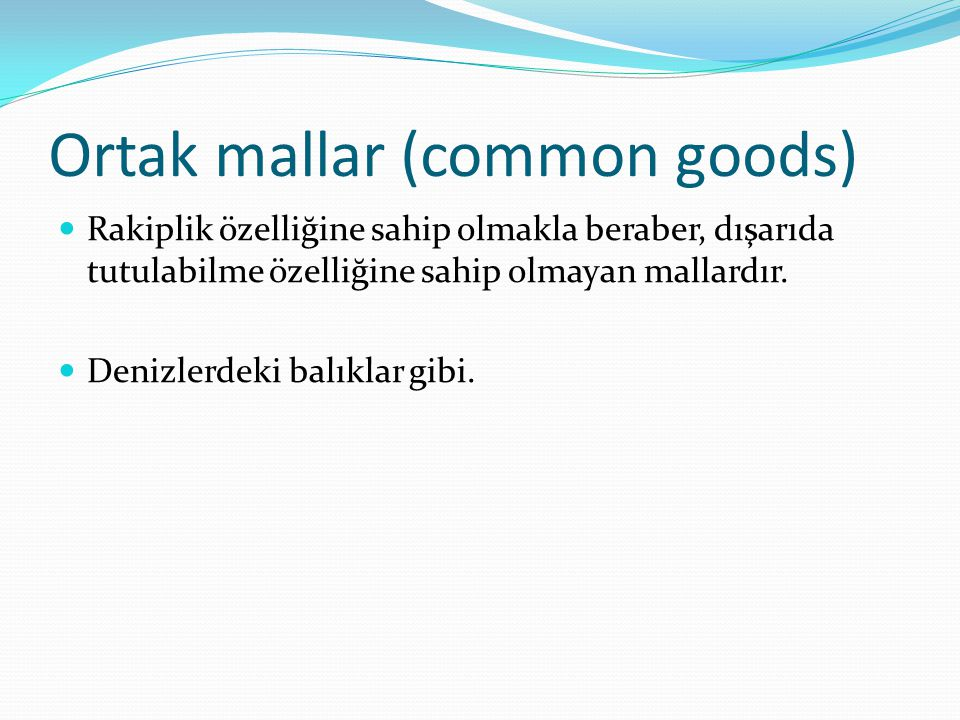 Ortak mallar (common goods)