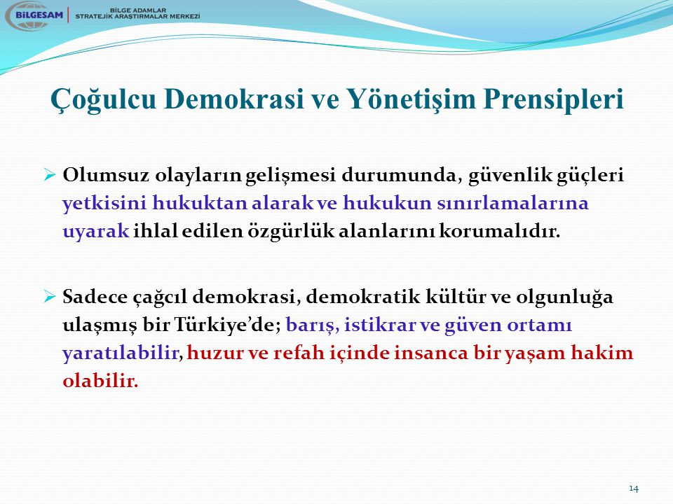 Çoğulcu Demokrasi ve Yönetişim Prensipleri