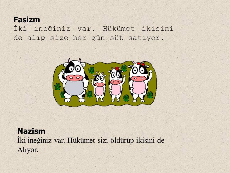 Fasizm İki ineğiniz var. Hükümet ikisini de alıp size her gün süt satıyor. Nazism. İki ineğiniz var. Hükümet sizi öldürüp ikisini de.