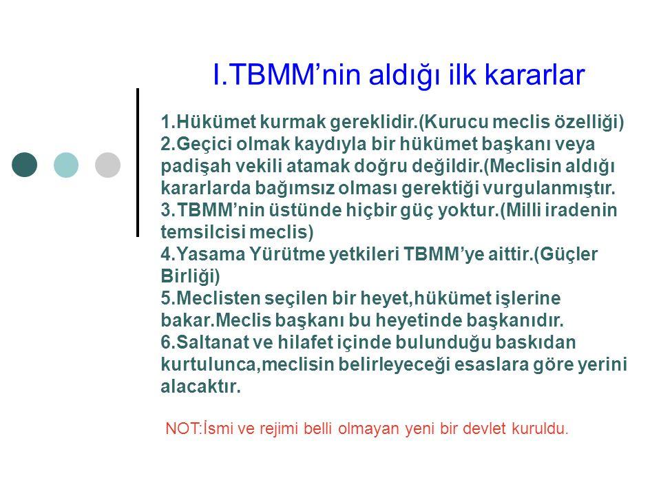 I.TBMM'nin aldığı ilk kararlar