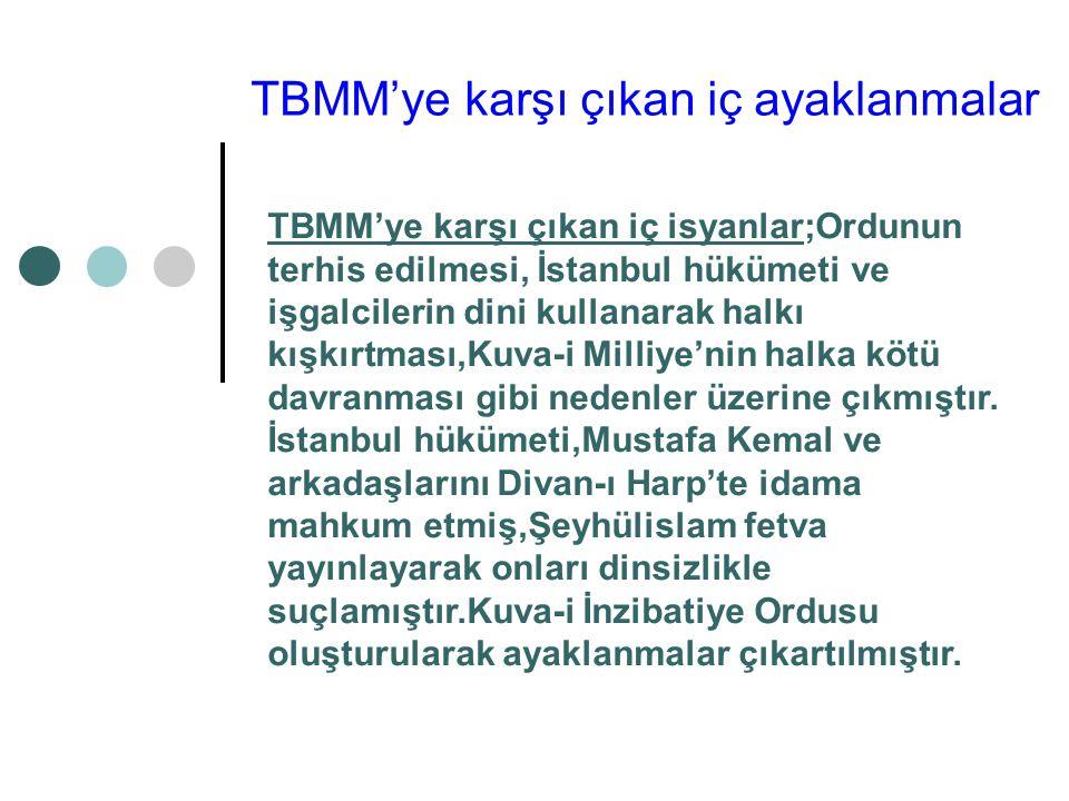 TBMM'ye karşı çıkan iç ayaklanmalar