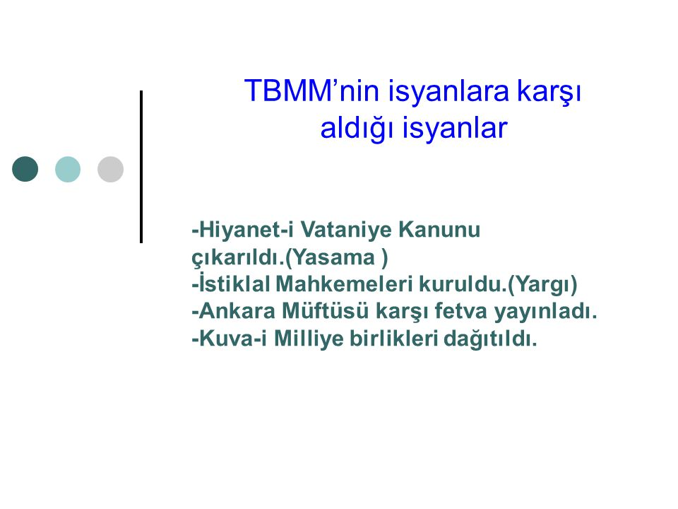 TBMM'nin isyanlara karşı