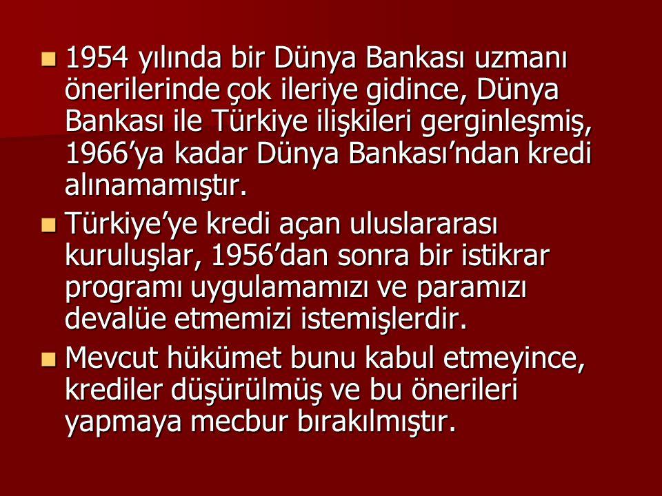 1954 yılında bir Dünya Bankası uzmanı önerilerinde çok ileriye gidince, Dünya Bankası ile Türkiye ilişkileri gerginleşmiş, 1966'ya kadar Dünya Bankası'ndan kredi alınamamıştır.