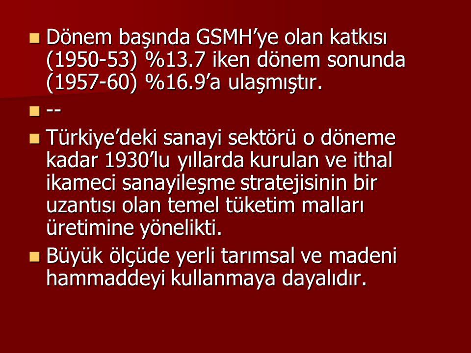 Dönem başında GSMH'ye olan katkısı (1950-53) %13