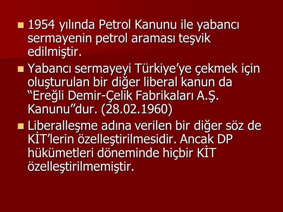 1954 yılında Petrol Kanunu ile yabancı sermayenin petrol araması teşvik edilmiştir.