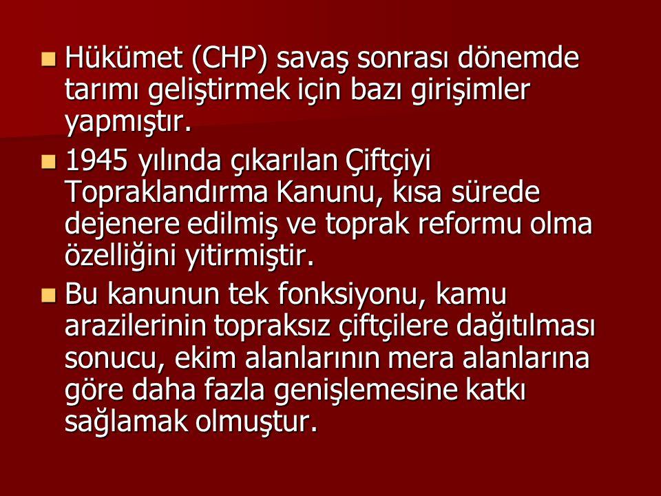 Hükümet (CHP) savaş sonrası dönemde tarımı geliştirmek için bazı girişimler yapmıştır.
