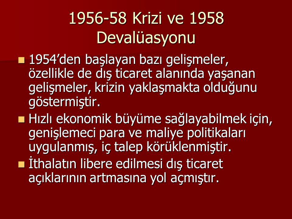 1956-58 Krizi ve 1958 Devalüasyonu