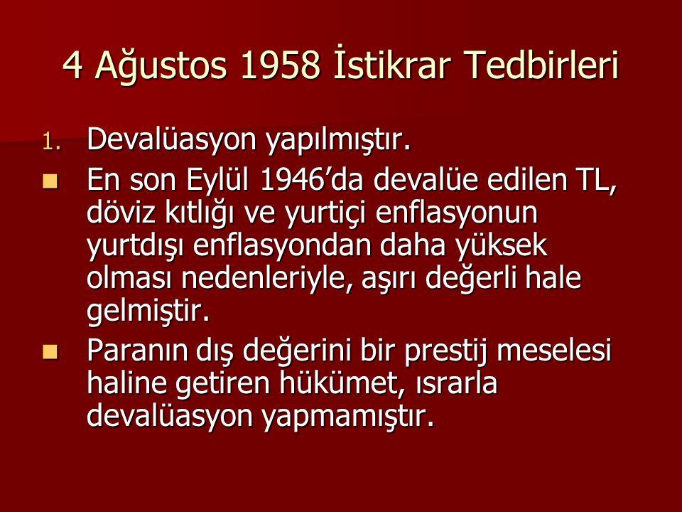 4 Ağustos 1958 İstikrar Tedbirleri