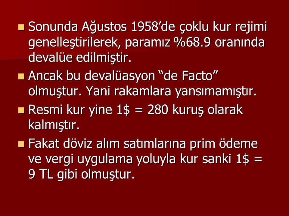 Sonunda Ağustos 1958'de çoklu kur rejimi genelleştirilerek, paramız %68.9 oranında devalüe edilmiştir.