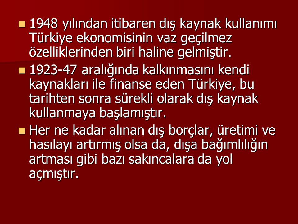 1948 yılından itibaren dış kaynak kullanımı Türkiye ekonomisinin vaz geçilmez özelliklerinden biri haline gelmiştir.