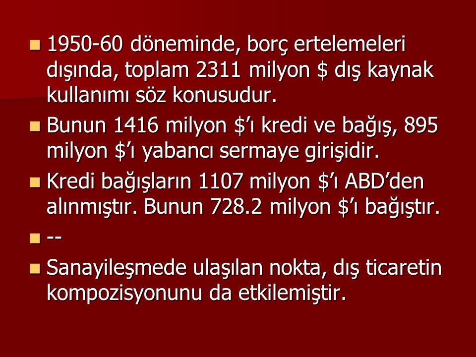 1950-60 döneminde, borç ertelemeleri dışında, toplam 2311 milyon $ dış kaynak kullanımı söz konusudur.