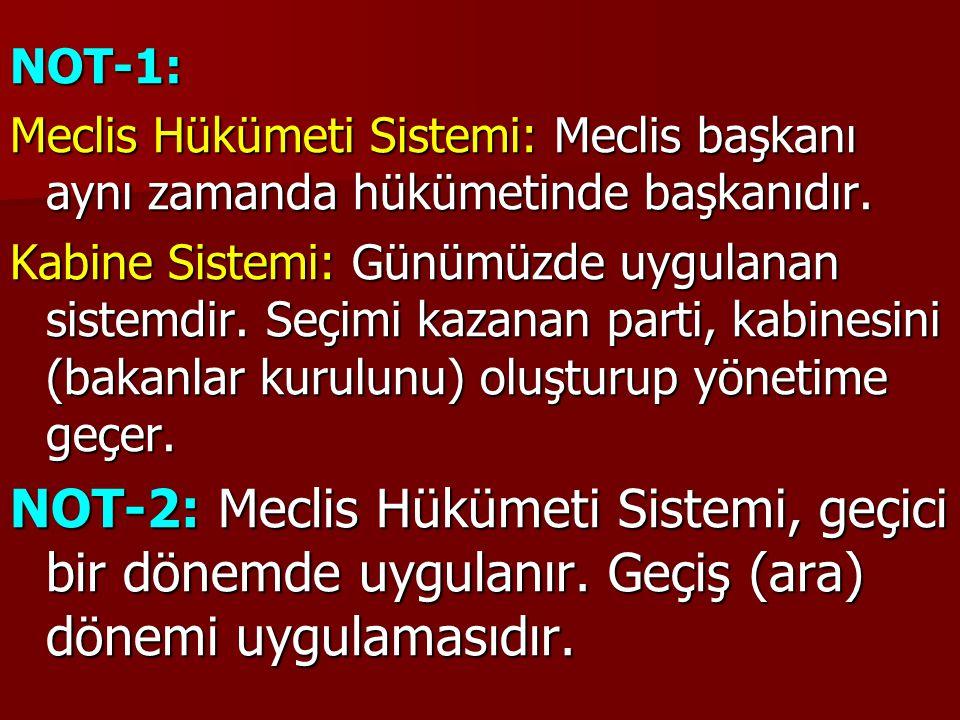NOT-1: Meclis Hükümeti Sistemi: Meclis başkanı aynı zamanda hükümetinde başkanıdır.