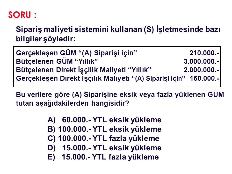 SORU : Sipariş maliyeti sistemini kullanan (S) İşletmesinde bazı bilgiler şöyledir: Gerçekleşen GÜM (A) Siparişi için 210.000.-