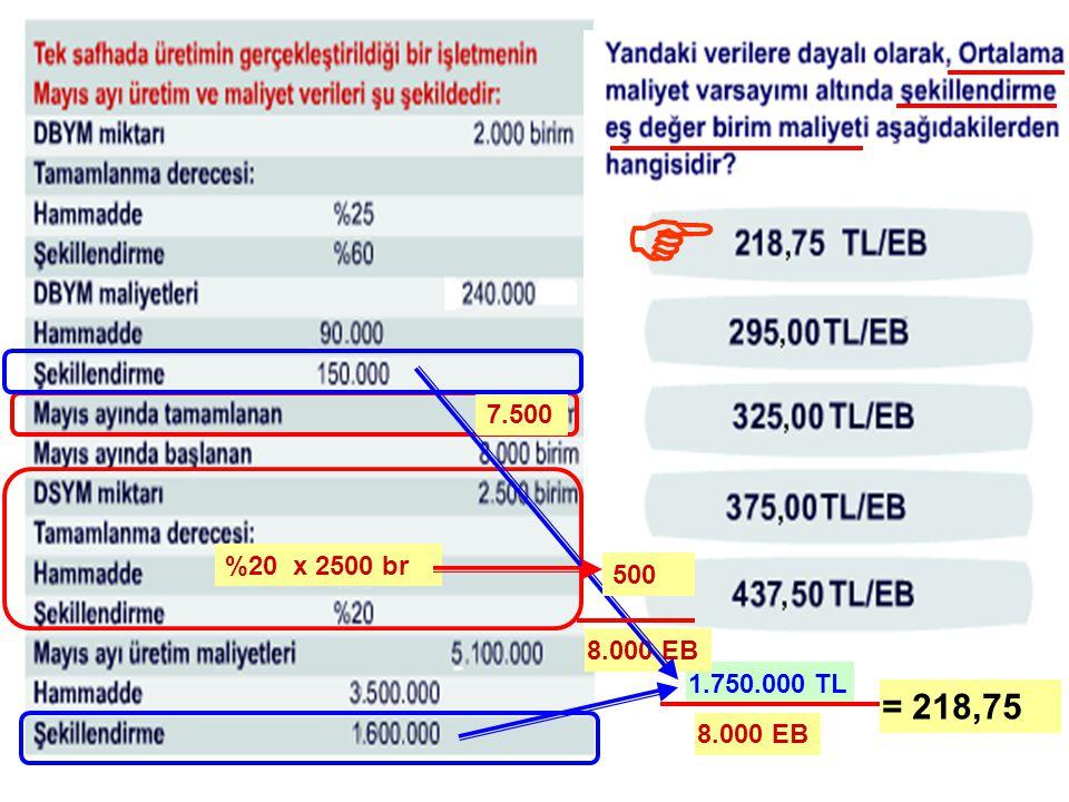 F 7.500 %20 x 2500 br 500 8.000 EB 1.750.000 TL = 218,75 8.000 EB