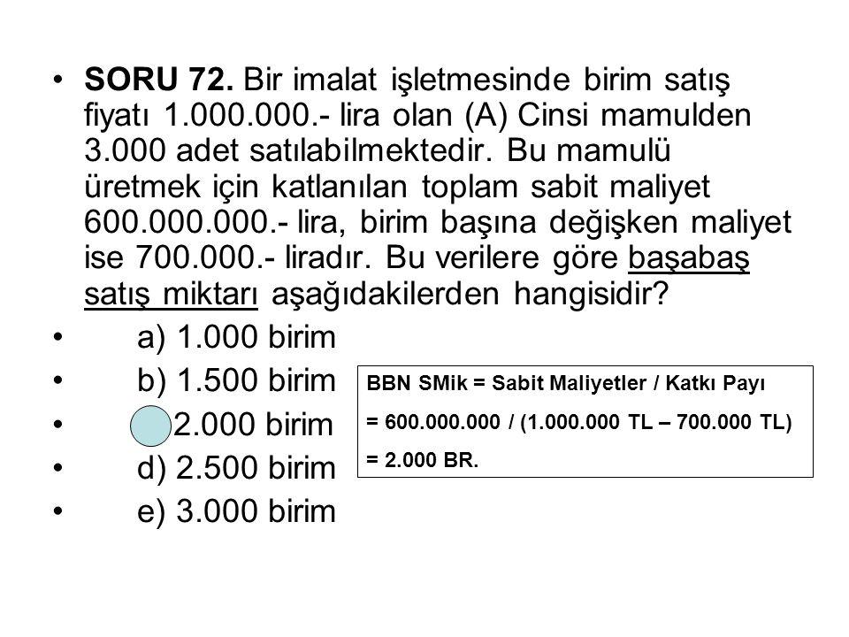 SORU 72. Bir imalat işletmesinde birim satış fiyatı 1. 000. 000
