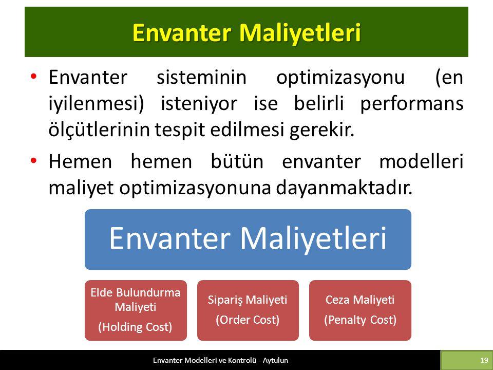Envanter Maliyetleri Envanter Maliyetleri
