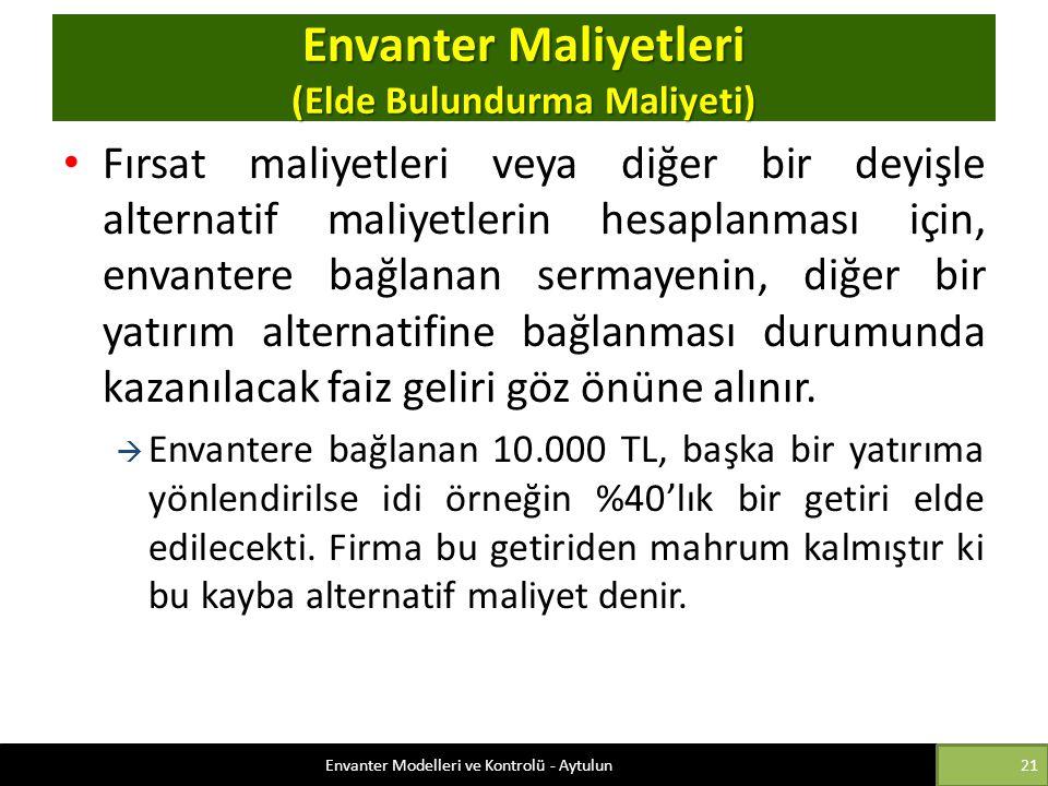 Envanter Maliyetleri (Elde Bulundurma Maliyeti)