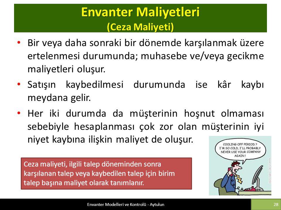 Envanter Maliyetleri (Ceza Maliyeti)