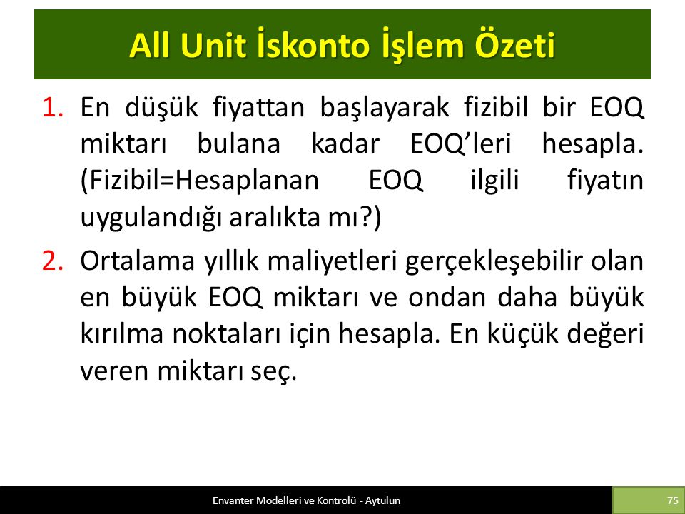 All Unit İskonto İşlem Özeti
