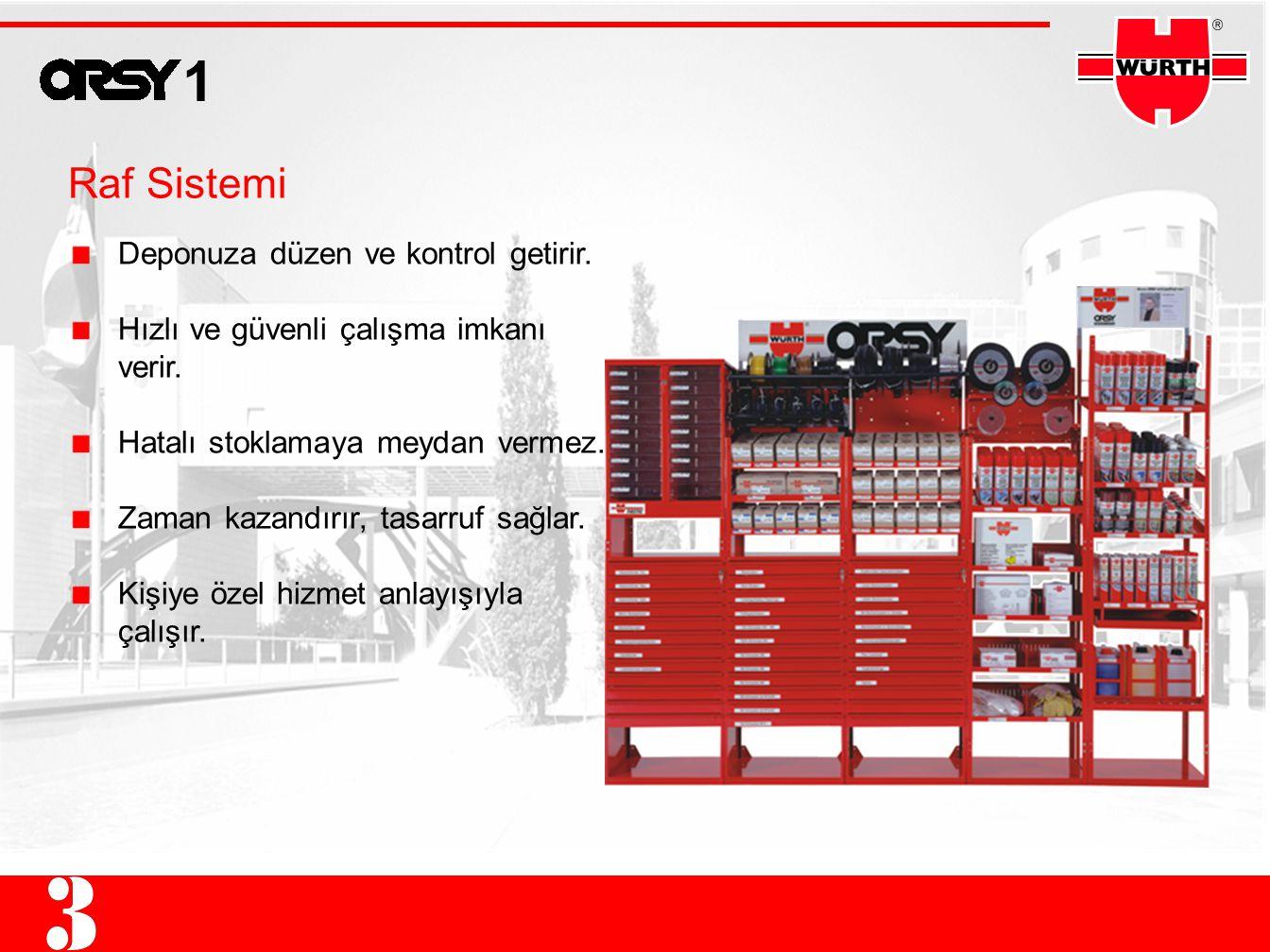 1 Raf Sistemi Deponuza düzen ve kontrol getirir.