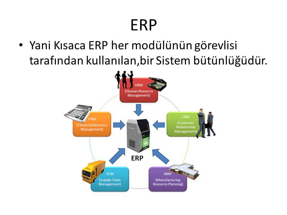 ERP Yani Kısaca ERP her modülünün görevlisi tarafından kullanılan,bir Sistem bütünlüğüdür.
