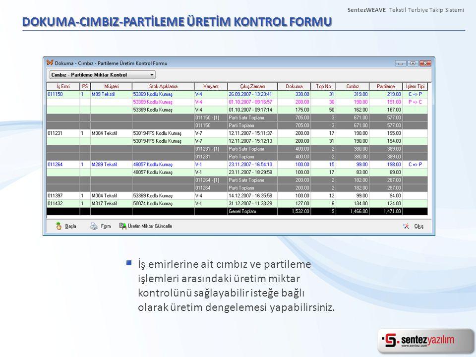 DOKUMA-CIMBIZ-PARTİLEME ÜRETİM KONTROL FORMU