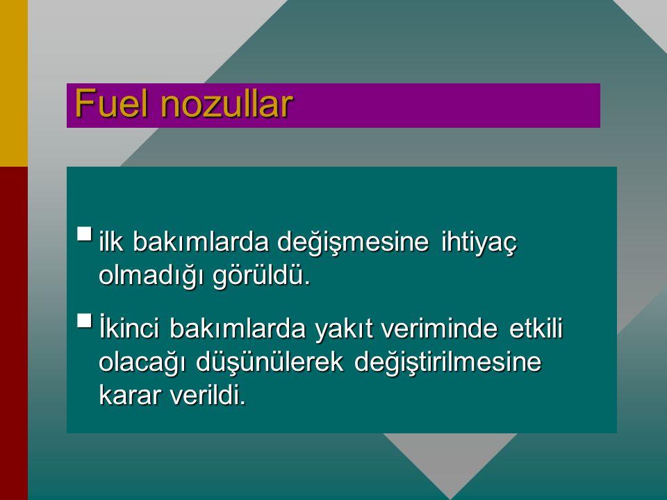 Fuel nozullar ilk bakımlarda değişmesine ihtiyaç olmadığı görüldü.