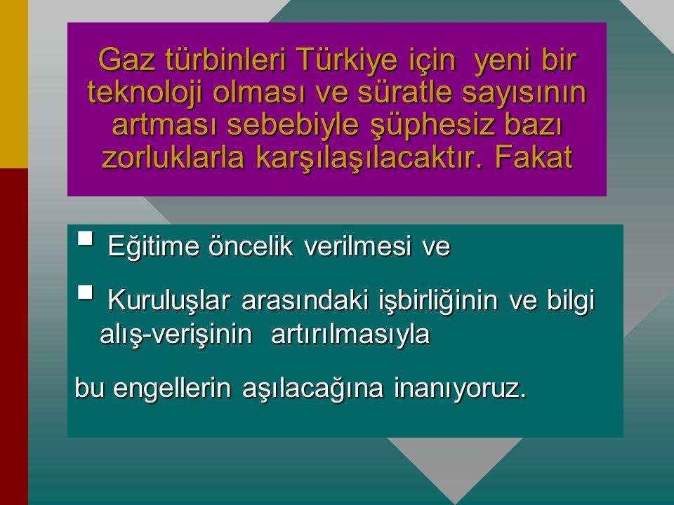 Gaz türbinleri Türkiye için yeni bir teknoloji olması ve süratle sayısının artması sebebiyle şüphesiz bazı zorluklarla karşılaşılacaktır. Fakat