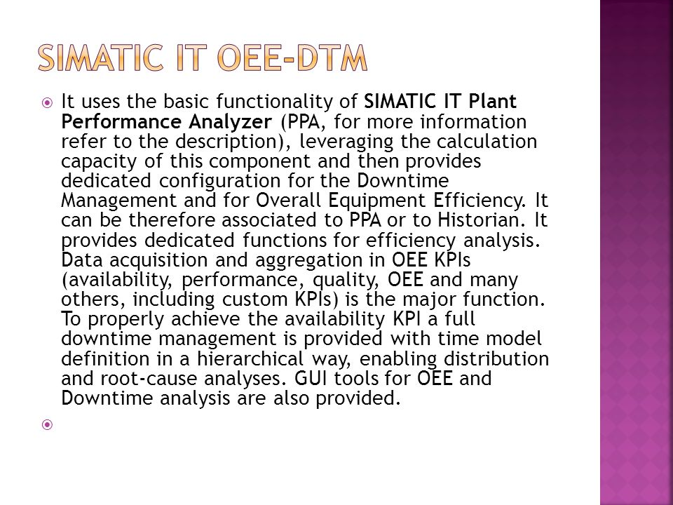 Simatic IT OEE-DTM
