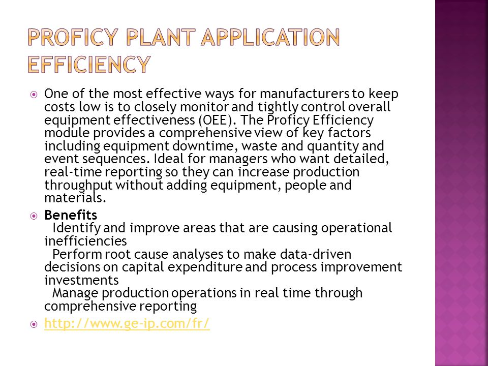 Proficy Plant Application Efficiency