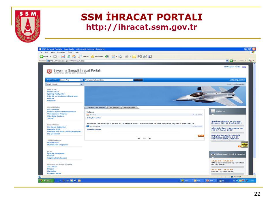 SSM İHRACAT PORTALI http://ihracat.ssm.gov.tr
