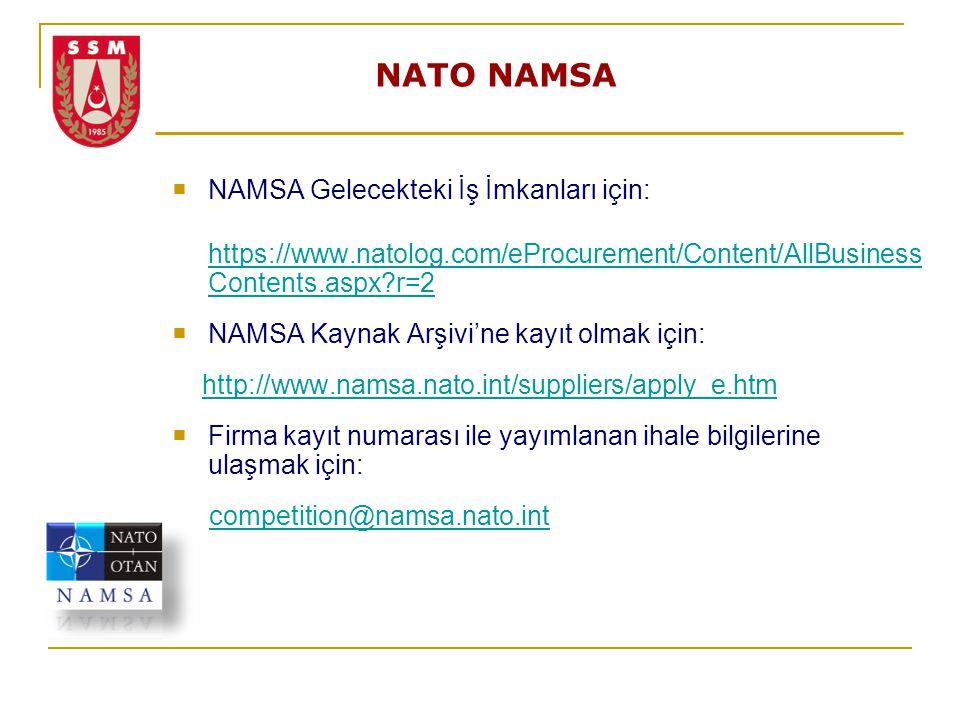 NATO NAMSA NAMSA Gelecekteki İş İmkanları için: