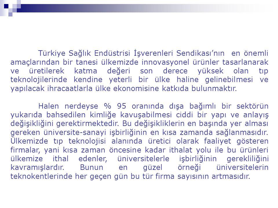 Türkiye Sağlık Endüstrisi İşverenleri Sendikası'nın en önemli amaçlarından bir tanesi ülkemizde innovasyonel ürünler tasarlanarak ve üretilerek katma değeri son derece yüksek olan tıp teknolojilerinde kendine yeterli bir ülke haline gelinebilmesi ve yapılacak ihracaatlarla ülke ekonomisine katkıda bulunmaktır.