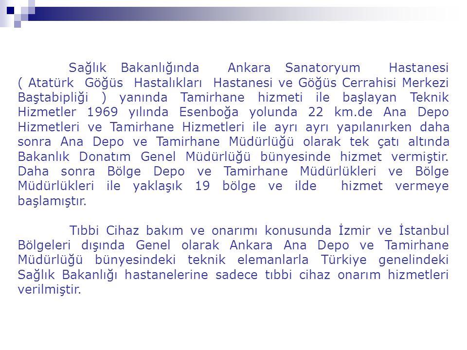 Sağlık Bakanlığında Ankara Sanatoryum Hastanesi ( Atatürk Göğüs Hastalıkları Hastanesi ve Göğüs Cerrahisi Merkezi Baştabipliği ) yanında Tamirhane hizmeti ile başlayan Teknik Hizmetler 1969 yılında Esenboğa yolunda 22 km.de Ana Depo Hizmetleri ve Tamirhane Hizmetleri ile ayrı ayrı yapılanırken daha sonra Ana Depo ve Tamirhane Müdürlüğü olarak tek çatı altında Bakanlık Donatım Genel Müdürlüğü bünyesinde hizmet vermiştir. Daha sonra Bölge Depo ve Tamirhane Müdürlükleri ve Bölge Müdürlükleri ile yaklaşık 19 bölge ve ilde hizmet vermeye başlamıştır.