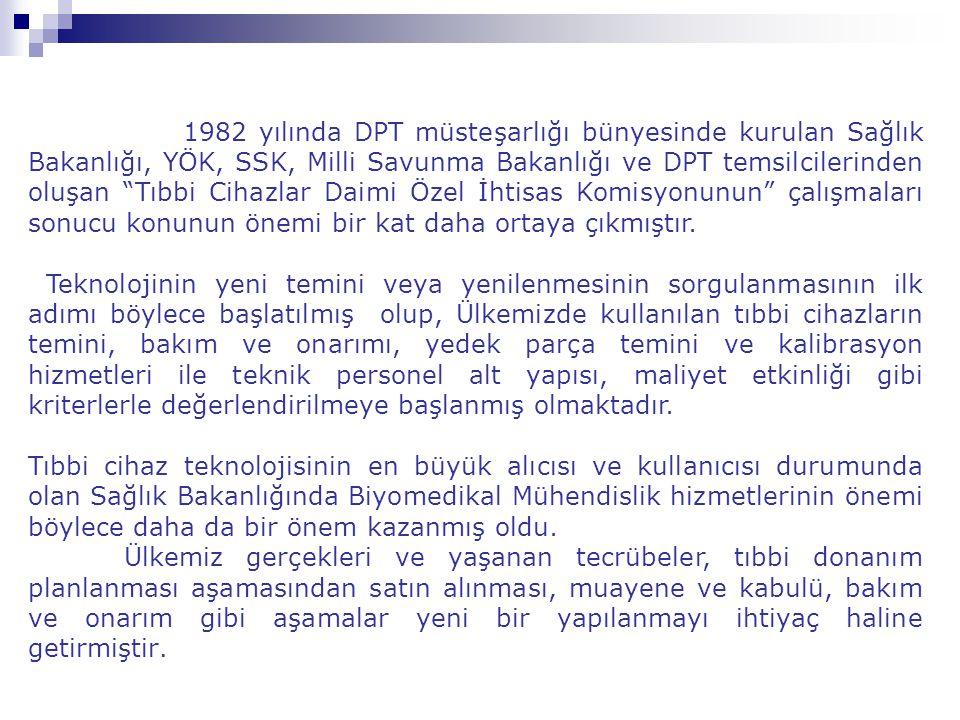 1982 yılında DPT müsteşarlığı bünyesinde kurulan Sağlık Bakanlığı, YÖK, SSK, Milli Savunma Bakanlığı ve DPT temsilcilerinden oluşan Tıbbi Cihazlar Daimi Özel İhtisas Komisyonunun çalışmaları sonucu konunun önemi bir kat daha ortaya çıkmıştır.