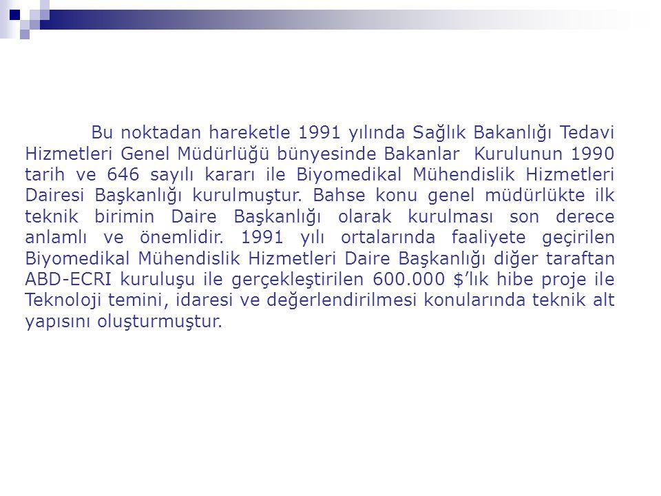 Bu noktadan hareketle 1991 yılında Sağlık Bakanlığı Tedavi Hizmetleri Genel Müdürlüğü bünyesinde Bakanlar Kurulunun 1990 tarih ve 646 sayılı kararı ile Biyomedikal Mühendislik Hizmetleri Dairesi Başkanlığı kurulmuştur.